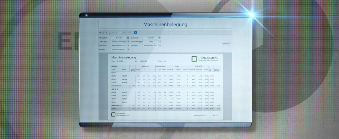 IT Engineering MES EMC Screen Produktionscontrolling